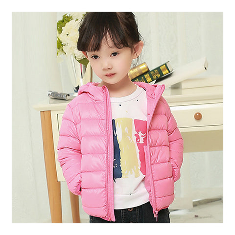 Child Hooded Thin Light Down Coat White Duck Down   pink   100cm - Mega Save Wholesale & Retail - 1