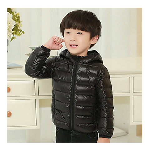 Child Hooded Thin Light Down Coat White Duck Down   black   100cm - Mega Save Wholesale & Retail - 1