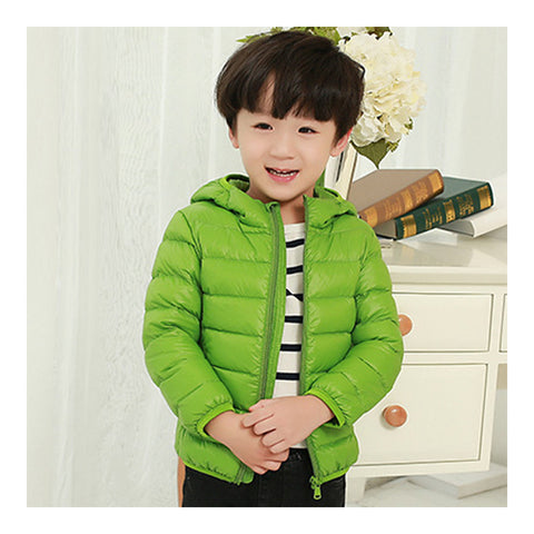 Child Hooded Thin Light Down Coat White Duck Down   green   100cm - Mega Save Wholesale & Retail - 1