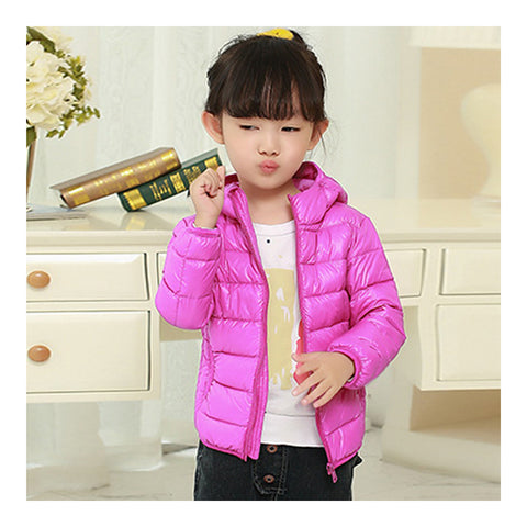 Child Hooded Thin Light Down Coat White Duck Down   light purple    100cm - Mega Save Wholesale & Retail - 1