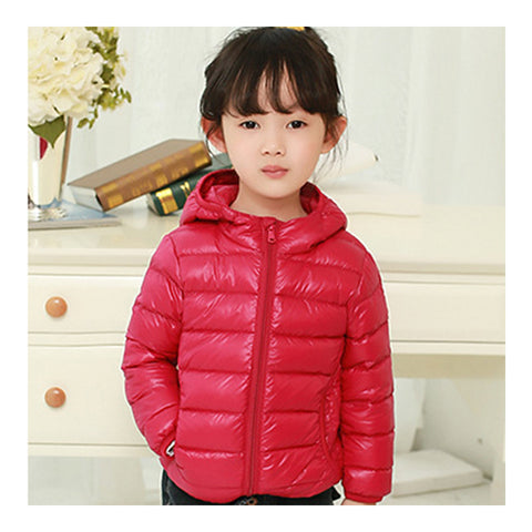 Child Hooded Thin Light Down Coat White Duck Down   dark red   100cm - Mega Save Wholesale & Retail - 1
