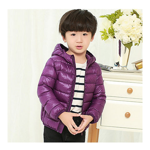 Child Hooded Thin Light Down Coat White Duck Down   dark purple   100cm - Mega Save Wholesale & Retail - 1