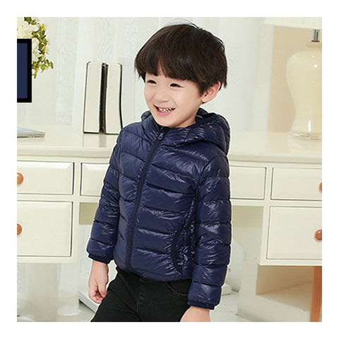 Child Hooded Thin Light Down Coat White Duck Down   navy   100cm - Mega Save Wholesale & Retail - 1