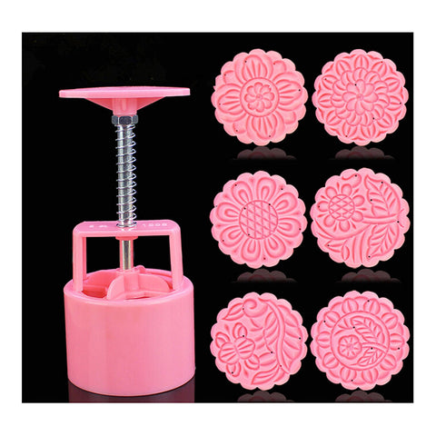 Round Shape Moon Cake Pastry Mold Hand Pressure 100g One Barrel 6 Flower piece baking mold for Mid-Autumn - Mega Save Wholesale & Retail