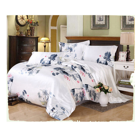 Silk King Queen Double Size Silk Duvet Quilt Cover Sets Bedding Cover Set  01 - Mega Save Wholesale & Retail