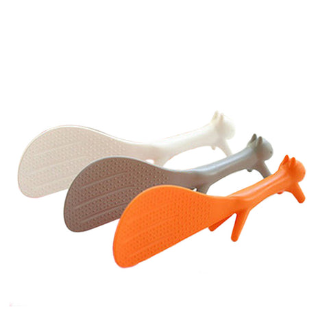 5035 Japan and South Korea lovely shape plastic spoon can handle squirrel vertical stick spoon  White - Mega Save Wholesale & Retail