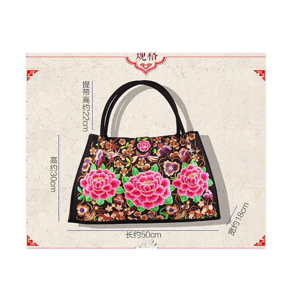 Bohemian Woman's Bag National Style Embroidery Single-shoulder Bag Embroidery Handbag Big Bag Factory(Big Szie)   black base cloud and flower - Mega Save Wholesale & Retail - 2