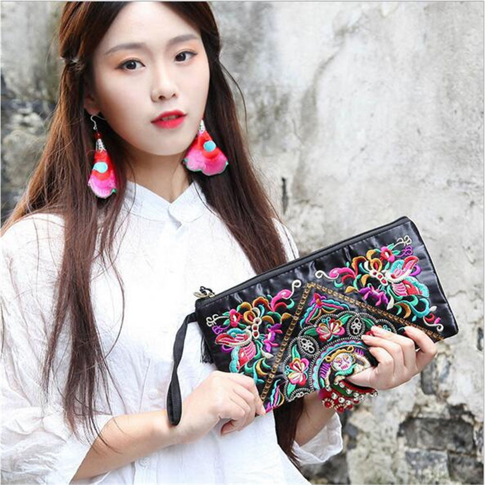 Fashioanble National Style Handbag Vintage Woman Embroidery Small Bag Coin Case   Pansies - Mega Save Wholesale & Retail - 2