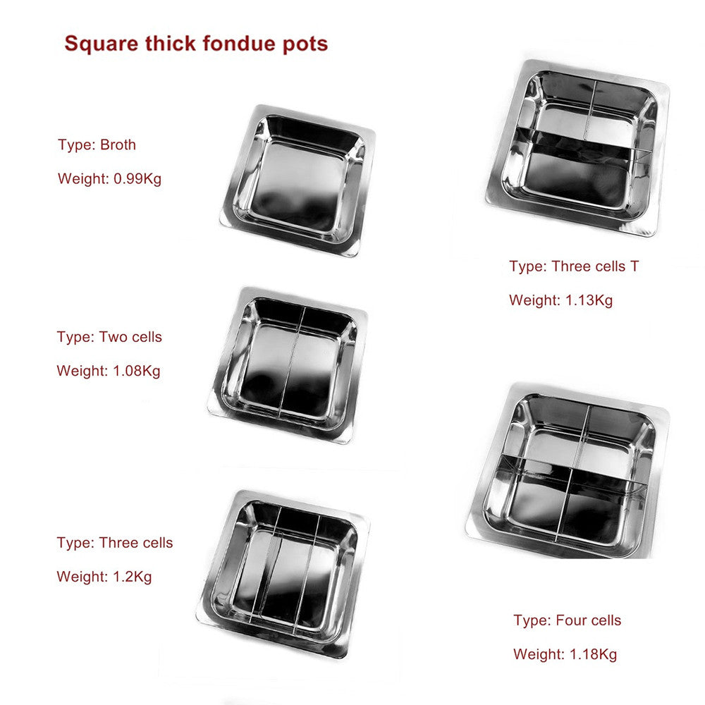 Special thick stainless steel fondue pots square wholesale non-magnetic grid there is no clear lattice duck pot soup pot factory direct   2 Cells - Mega Save Wholesale & Retail - 2