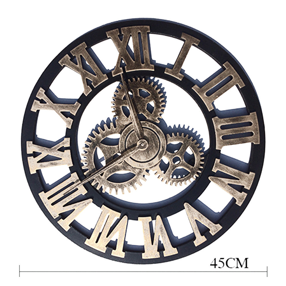 Super Big Vintage Gear Hang Wall Clock  golden with Roman digit - Mega Save Wholesale & Retail - 2