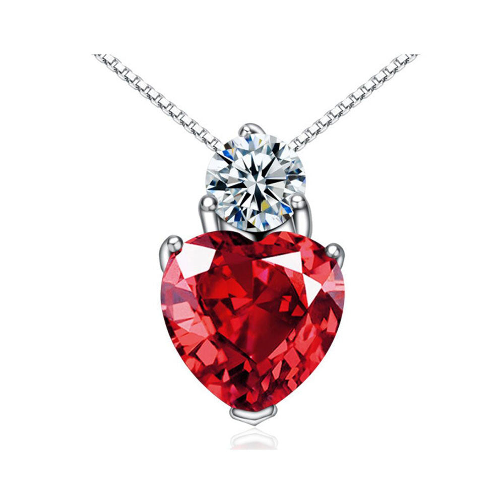 CYW explosion models genuine 925 sterling silver necklaces red crystal pendant female models Valentines Day gifts - Mega Save Wholesale & Retail