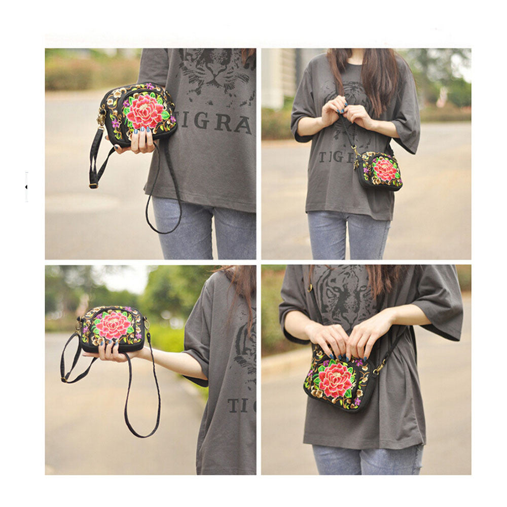Yunnan National Style Embroidery Bag Embroidery Canvas Messenger Bag Woman Coin Case Mobile Phone Bag   small zamioculcas zamiifolia - Mega Save Wholesale & Retail - 2