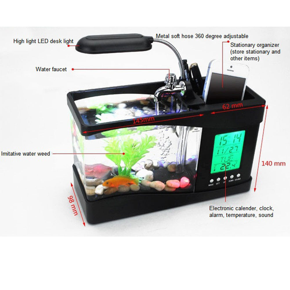 Creative multi-function USB mini aquarium fish tank LED lamp Pen small goldfish bowl White - Mega Save Wholesale & Retail - 3