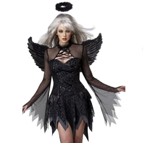 Halloween Costumes Zombie Stage Uniform with Wings   black