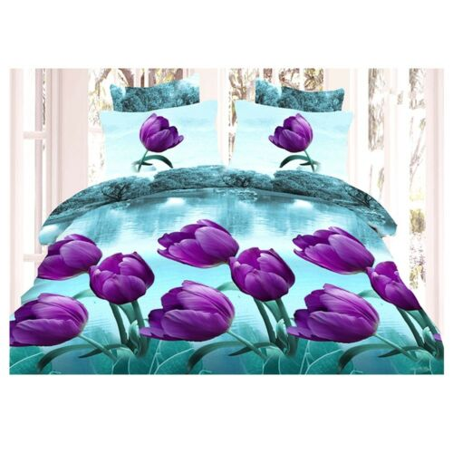 3D Active Printing Bed Quilt Duvet Sheet Cover 4PC Set Upscale Cotton 010