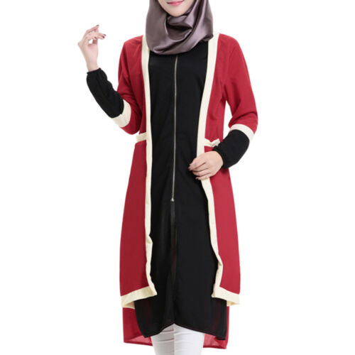 Muslim Short Stripe Dress round collar Long Sleeve Knit Fake 2pcs Suit