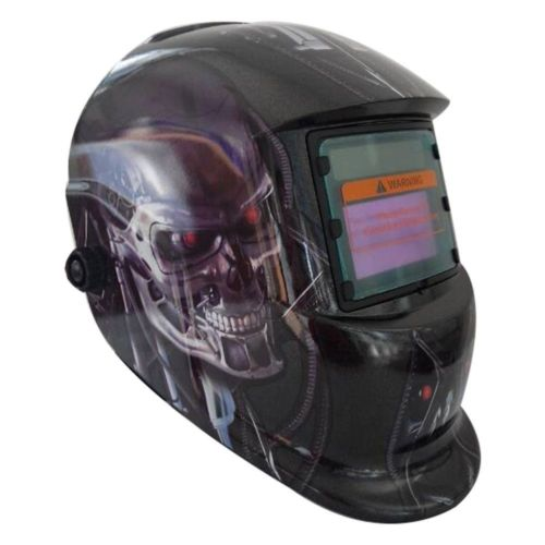 Automatic Welding Lenses in Stylish Terminator Style Skull Graphic Design & LCD