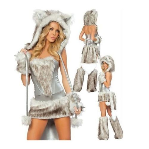 European Halloween Animal Game Garment Big Tail Wolf  grey