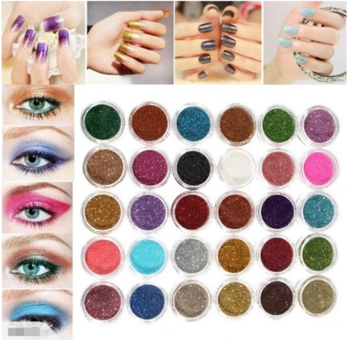 30 Colors Pro Makeup Glitter Powder Pigment  Mineral Spangle Eye Shadow Nail art