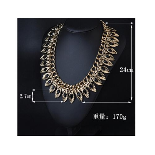 New European Big Brand Golden Leaf Zircon Exaggerated Short Necklace Woman Tempe