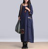 Blue Linen Woven Cloth Patch Oversized Baggy Tunic Dress