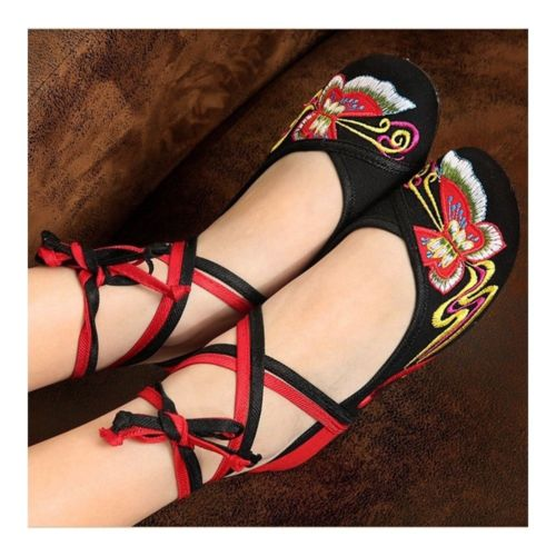 Canvas Old Beijing Cloth Embroidered Shoes   black
