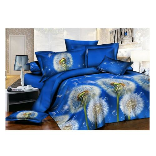 3D Active Printing Bed Quilt Duvet Sheet Cover 4PC Set Upscale Cotton 015