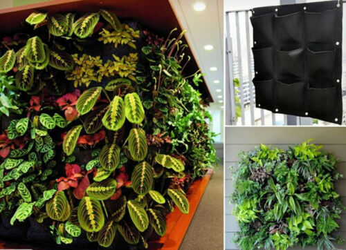 9 Pocket Green Vertical Garden Planter Wall-mounted Planting Flower Grow Bag