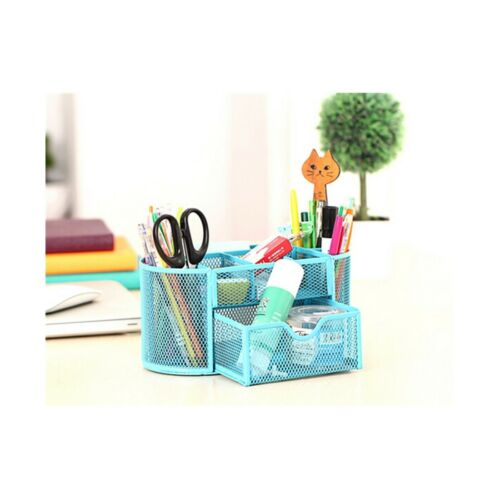 9 Slots Compartments Desk Organizer Pen Holder Rack Office Stationary  Blue