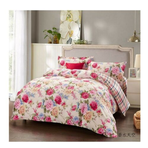 Bed Quilt Duvet Sheet Cover 4PC Set Upscale Cotton 100% 029
