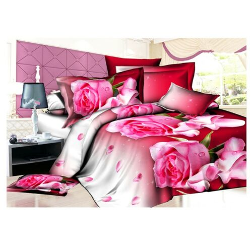 3D Active Printing Bed Quilt Duvet Sheet Cover 4PC Set Upscale Cotton 009