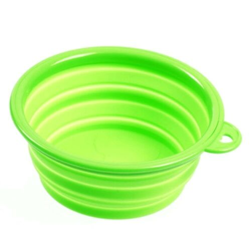Silicone Pet Food Basin Foldable Portable Cat Pet Dog Bowl   green