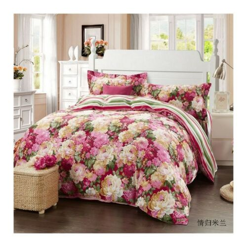 Bed Quilt Duvet Sheet Cover 4PC Set Upscale Cotton 100% 024