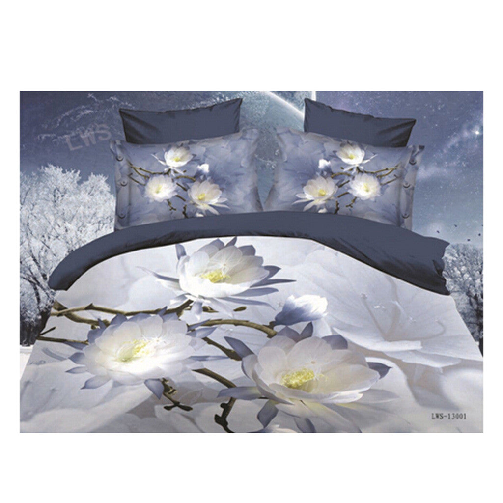 3D Queen King Size Bed Quilt/Duvet Sheet Cover Cotton reactive printing 4pcs  29 - Mega Save Wholesale & Retail