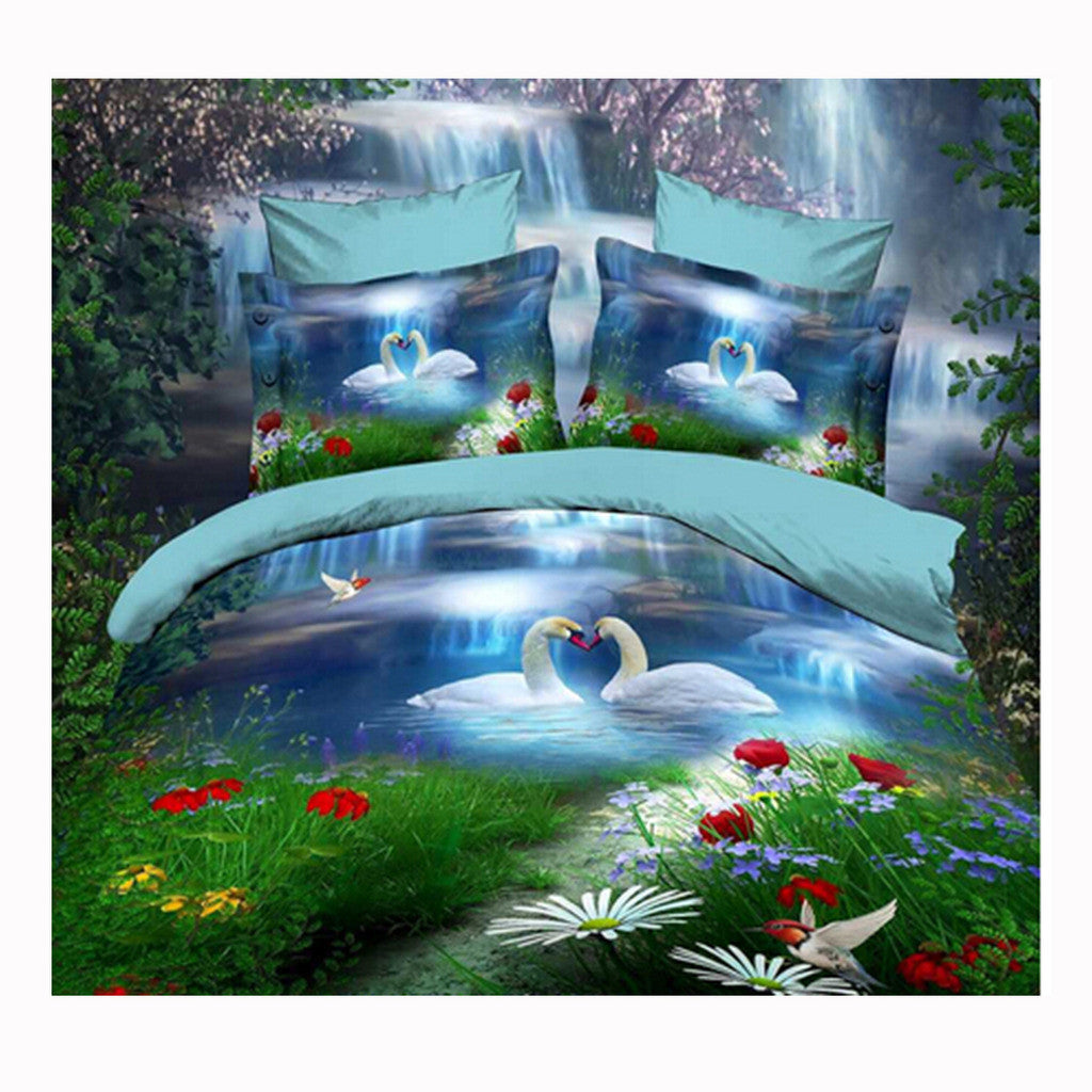 3D Queen King Size Bed Quilt/Duvet Sheet Cover Cotton reactive printing 4pcs  52 - Mega Save Wholesale & Retail