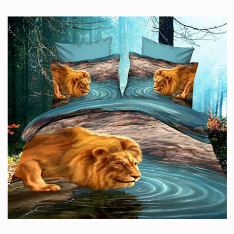 3D Queen King Size Bed Quilt/Duvet Sheet Cover Cotton reactive printing 4pcs  63 - Mega Save Wholesale & Retail