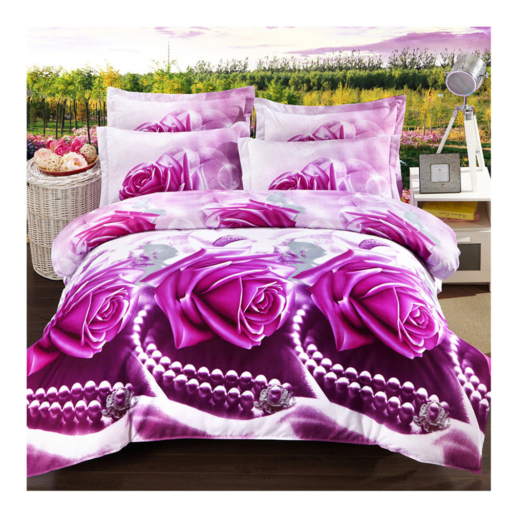 3D Active Printing Bed Quilt Duvet Sheet Cover 4PC Set Upscale Cotton  016 - Mega Save Wholesale & Retail