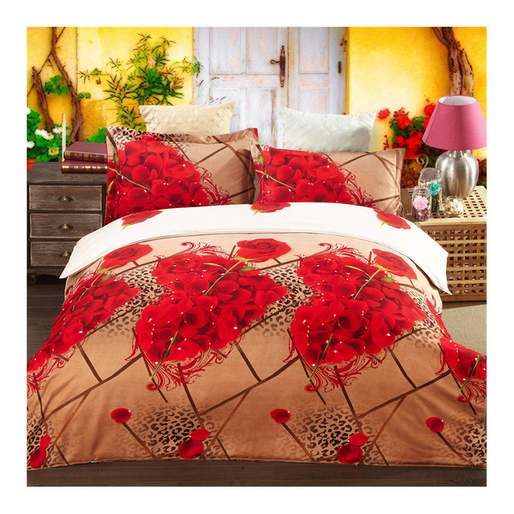 3D Active Printing Bed Quilt Duvet Sheet Cover 4PC Set Upscale Cotton  012 - Mega Save Wholesale & Retail