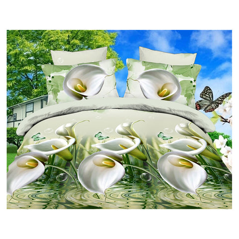 3D Active Printing Bed Quilt Duvet Sheet Cover 4PC Set Upscale Cotton  018 - Mega Save Wholesale & Retail