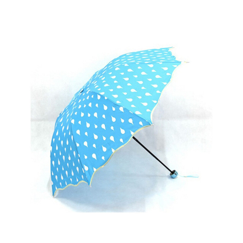 Fashion umbrella Color Changing Water Activated Windproof Princess Folding Umbrella Blue - Mega Save Wholesale & Retail - 1