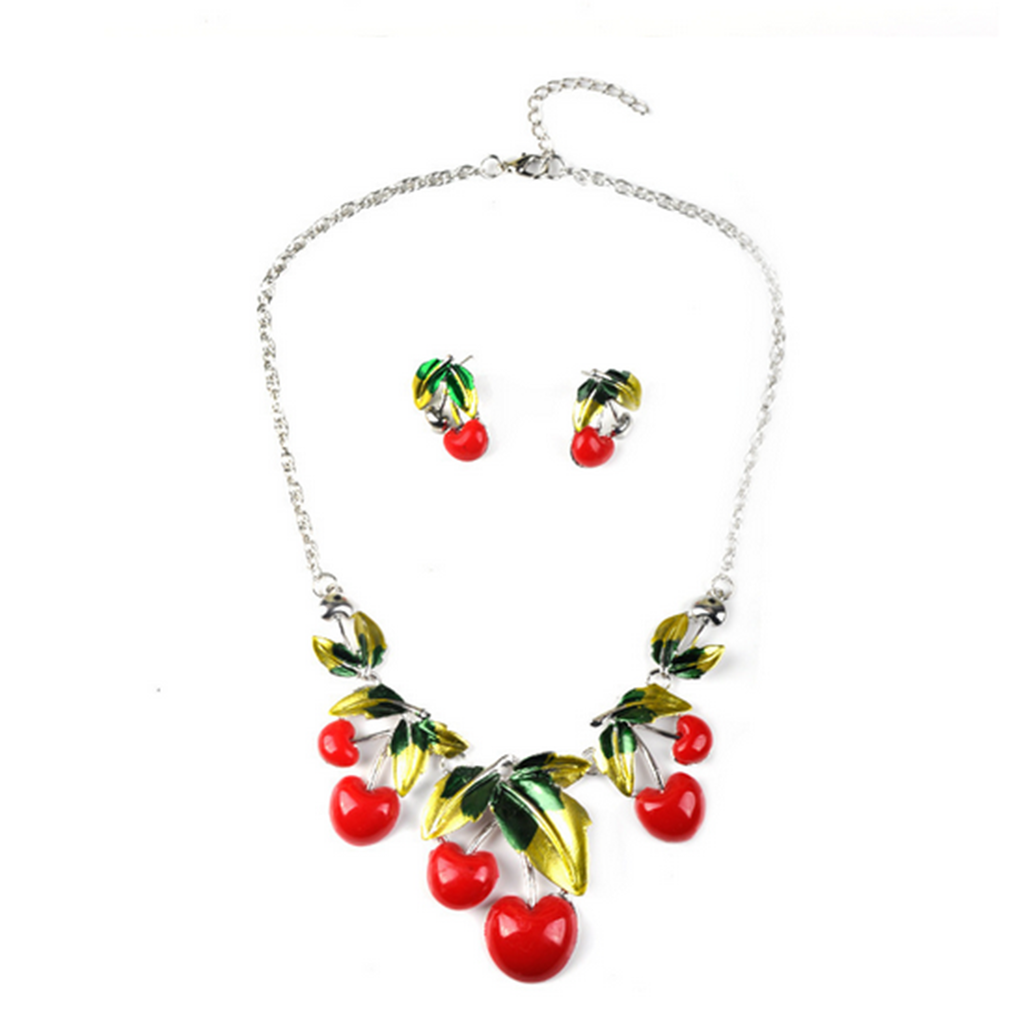 European Jewelry Necklace Oil Cherry Cute Sweet Necklace Suit Woman Clavicle Necklace - Mega Save Wholesale & Retail