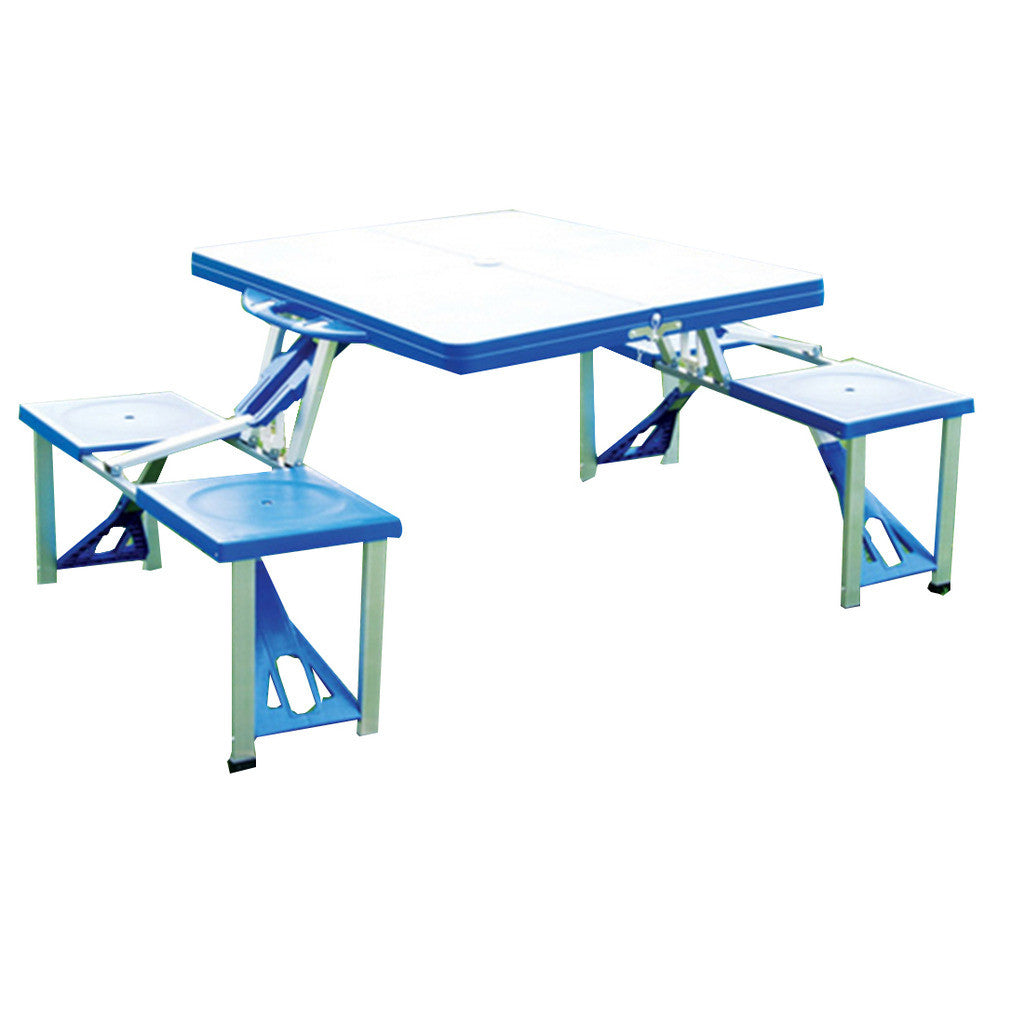 outdoor plastic siamesed folded table and chair aluminium alloy wooden folded table and chair portable picnik siamesed table - Mega Save Wholesale & Retail