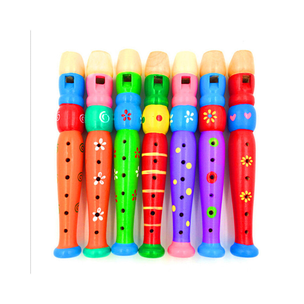 Cartoon wooden flute wooden flute children 6 holed wind instrument piccolo infant educational toys - Mega Save Wholesale & Retail - 1