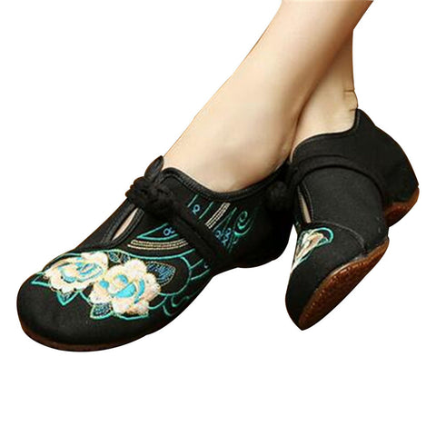 Chinese Embroidered Floral Shoes Women Ballerina Mary Jane Flat Ballet Cotton Loafer Black - Mega Save Wholesale & Retail - 1