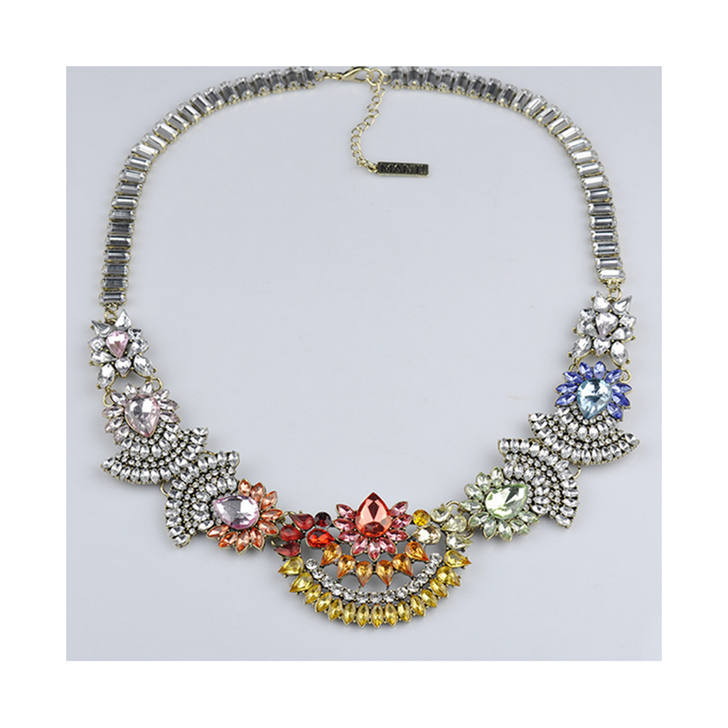 European New Necklace High Grade Alloy Zircon Rainbow Exaggerated Necklace Sweater Woman - Mega Save Wholesale & Retail