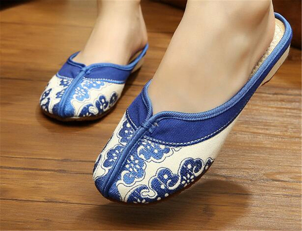 Chinese Embroidered Boots for Women in Blue Cloud Design & Natural Skin Smooth Cotton - Mega Save Wholesale & Retail - 3