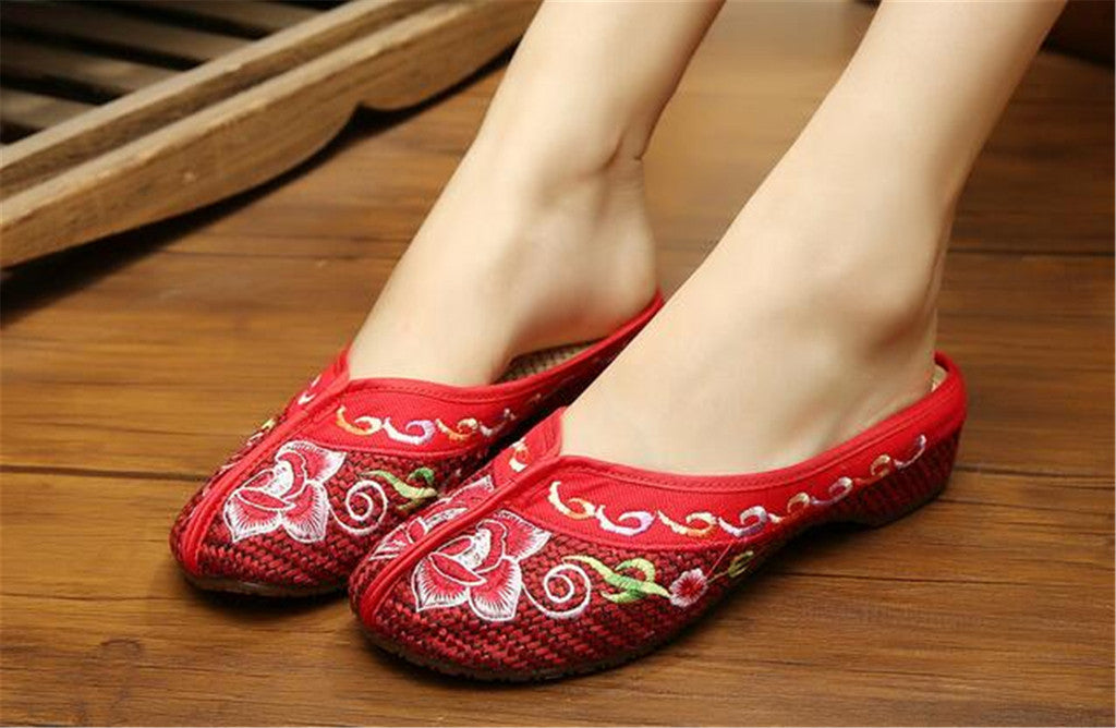 Chinese Mary Jane Shoes in Gorgeous Red Embroidery for Women in Floral Design - Mega Save Wholesale & Retail - 4