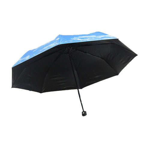 2015 New Women foldable umbrella Anti-UV Rain Sun Umbrella Sunshade Sky Clouds print Inside Black - Mega Save Wholesale & Retail