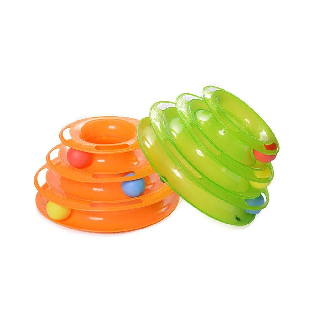 Funny Pet Kitty Cat puppy dog Toy Trilaminar Petstages Tower of Tracks Ball Disk  orange - Mega Save Wholesale & Retail