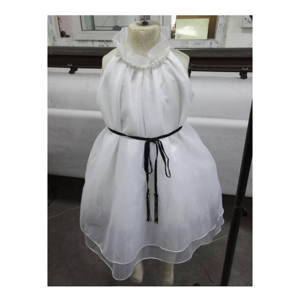 Girl Garment Off-shoulder High-necked Dress Chidlren Organza Attire Belt Waisted Slim - Mega Save Wholesale & Retail